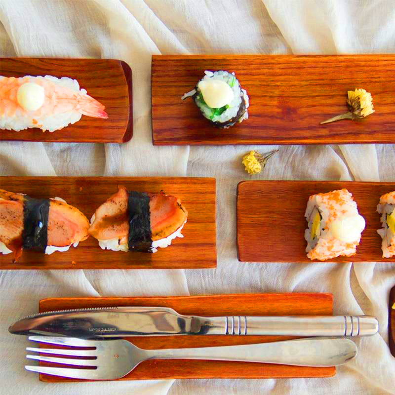 Wooden Dumplings Sushi Serving Tray Oblong Plate Salad Bread Dishes | The Brand Decò