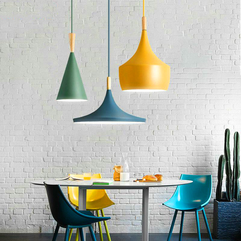 Modern Nordic Pendant Light Iron Lampshade Wood LED Hanging Lamp | The Brand Decò