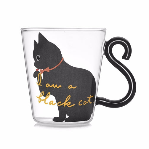 Cute Kitty Glass Water Cup Cat Tail Handle