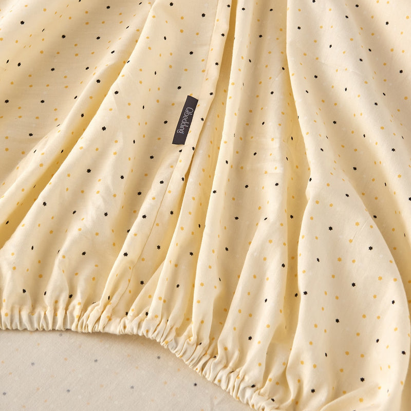Pale Yellow Dots Cotton Fitted Sheet