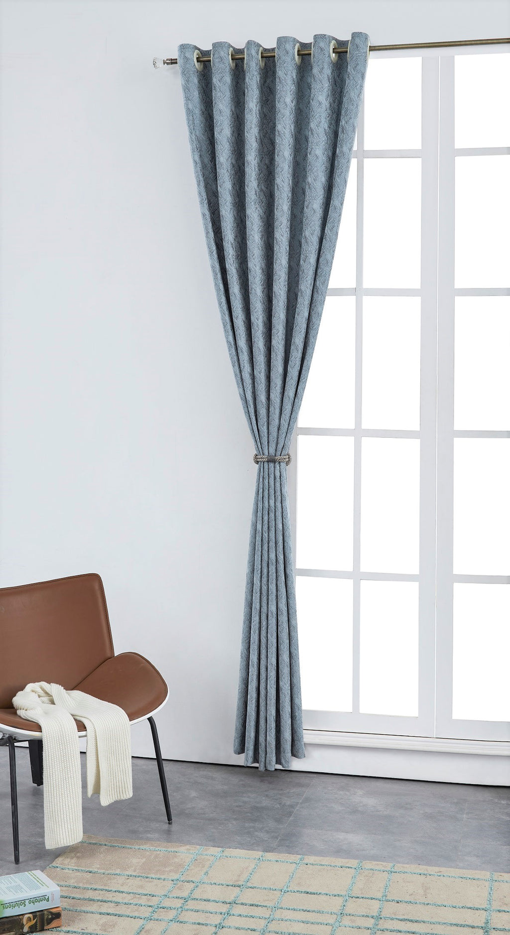 Balmy Gray Pattern Polyester Curtain