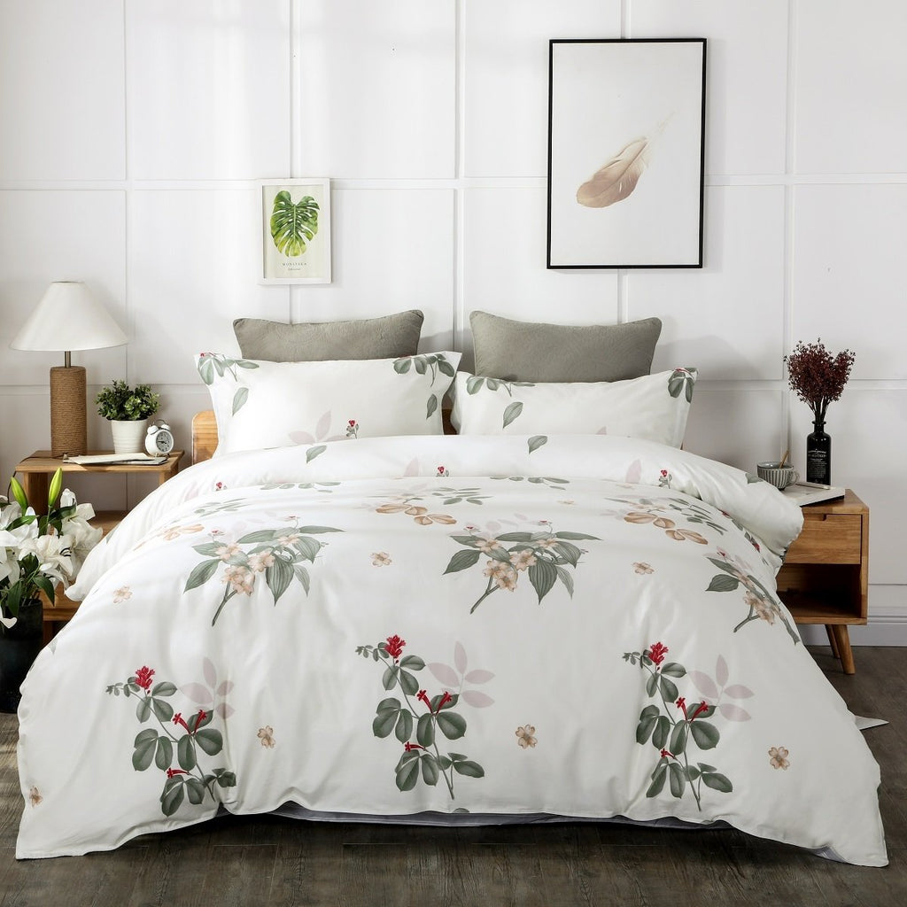 Aimee Flora Cotton Bedskirt Duvet Cover Set