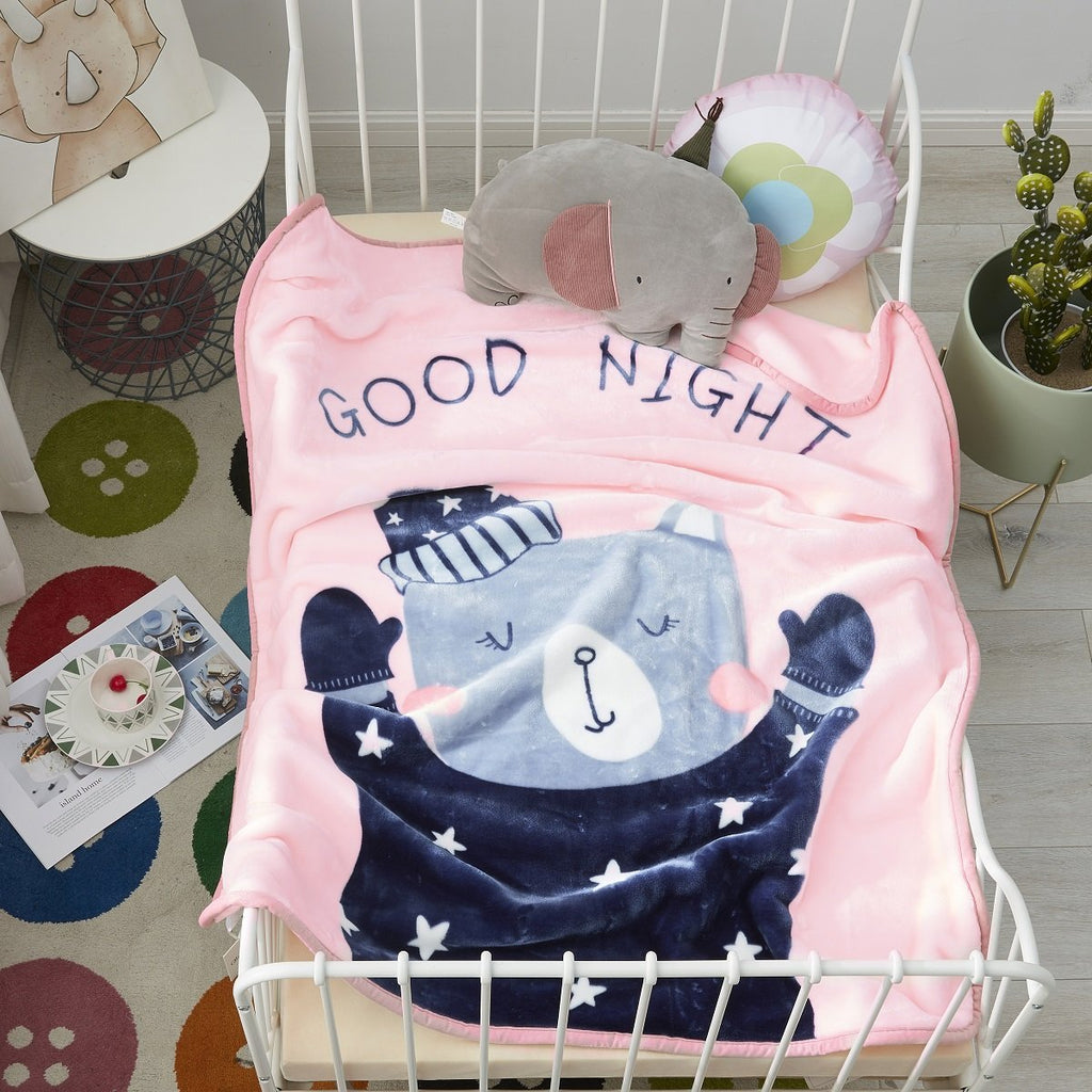 Baby Bear Cartoon Cloudy Blanket