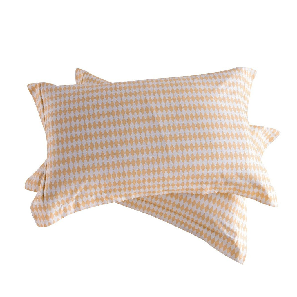 Beige Diamond Plaid Cotton Pillow Sham Set