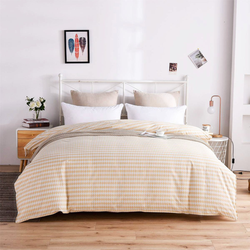 Beige Diamond Plaid Cotton Duvet Cover
