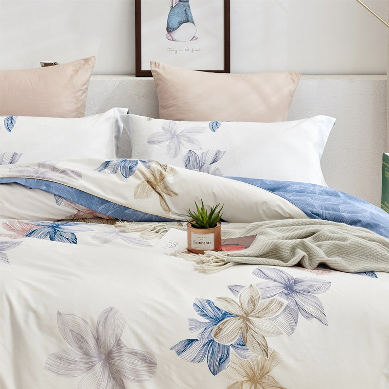 Bernie Floral Cotton Bedskirt Duvet Cover Set