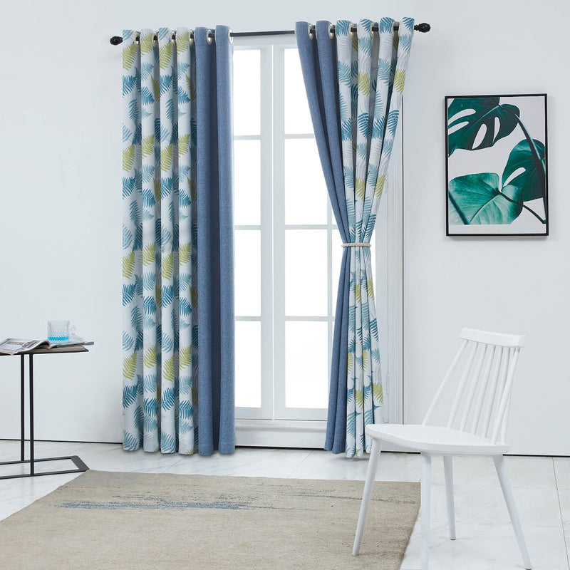 Blooming Leaves Floral Polyester Curtain - Two Panels