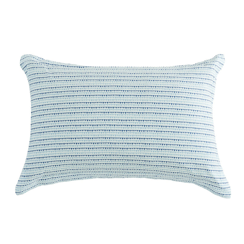 Blue Triangle Dots Cotton Pillow Sham Set