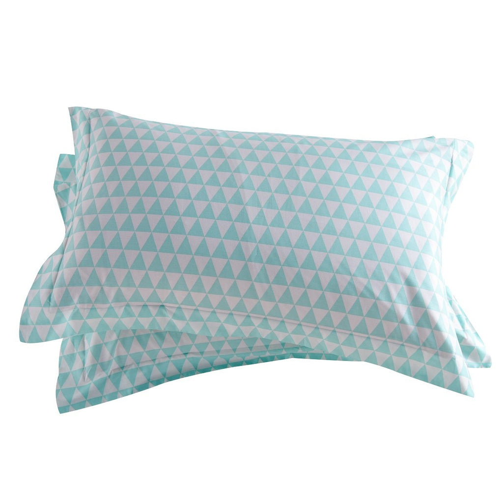 Blue Triangle Pattern Cotton Pillow Sham Set