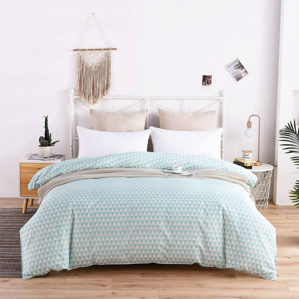 Blue Triangle Plaid Cotton Duvet Cover