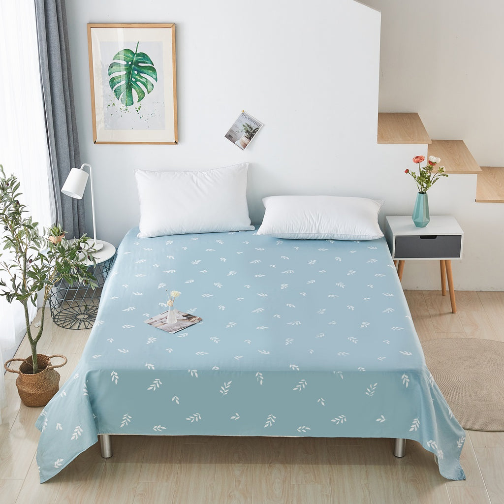 Cyan Leaves Pattern Cotton Flat Sheet