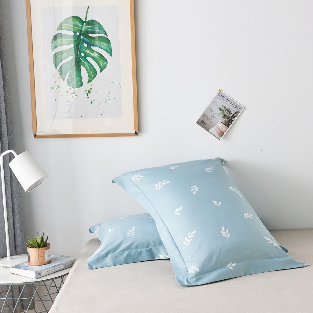 Cyan Leaves Pattern Cotton Pillow Sham