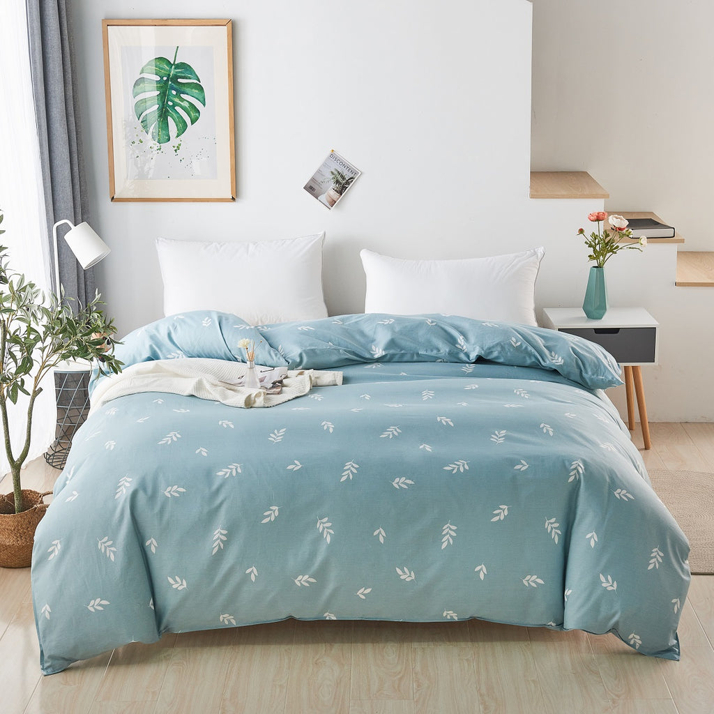 Cyan Leaves Pattern Cotton Duvet Cover