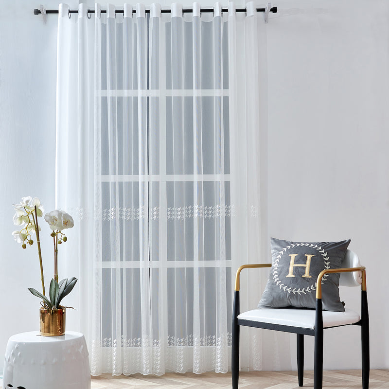 Houndstooth Floral Polyester Sheer Curtain