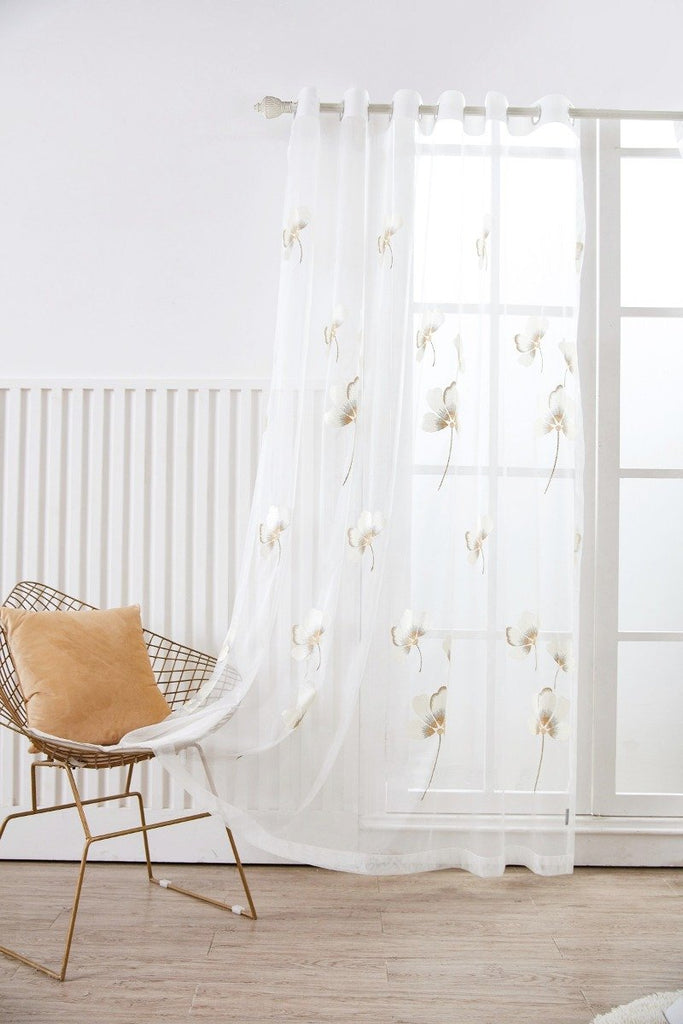 Delicate Flower Floral Polyester Sheer Curtain