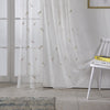 Golden Feathers Floral Polyester Sheer Curtain