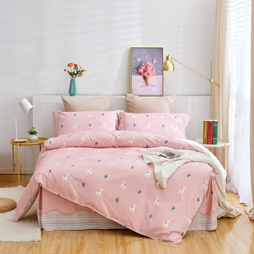 Ivy Cartoon Cotton Bedskirt Duvet Cover Set