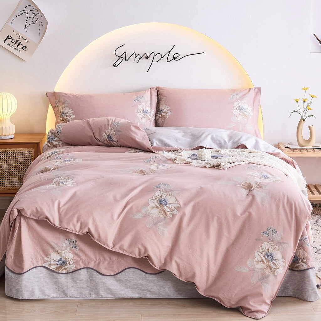 Laney Floral Cotton Bedskirt Duvet Cover Set