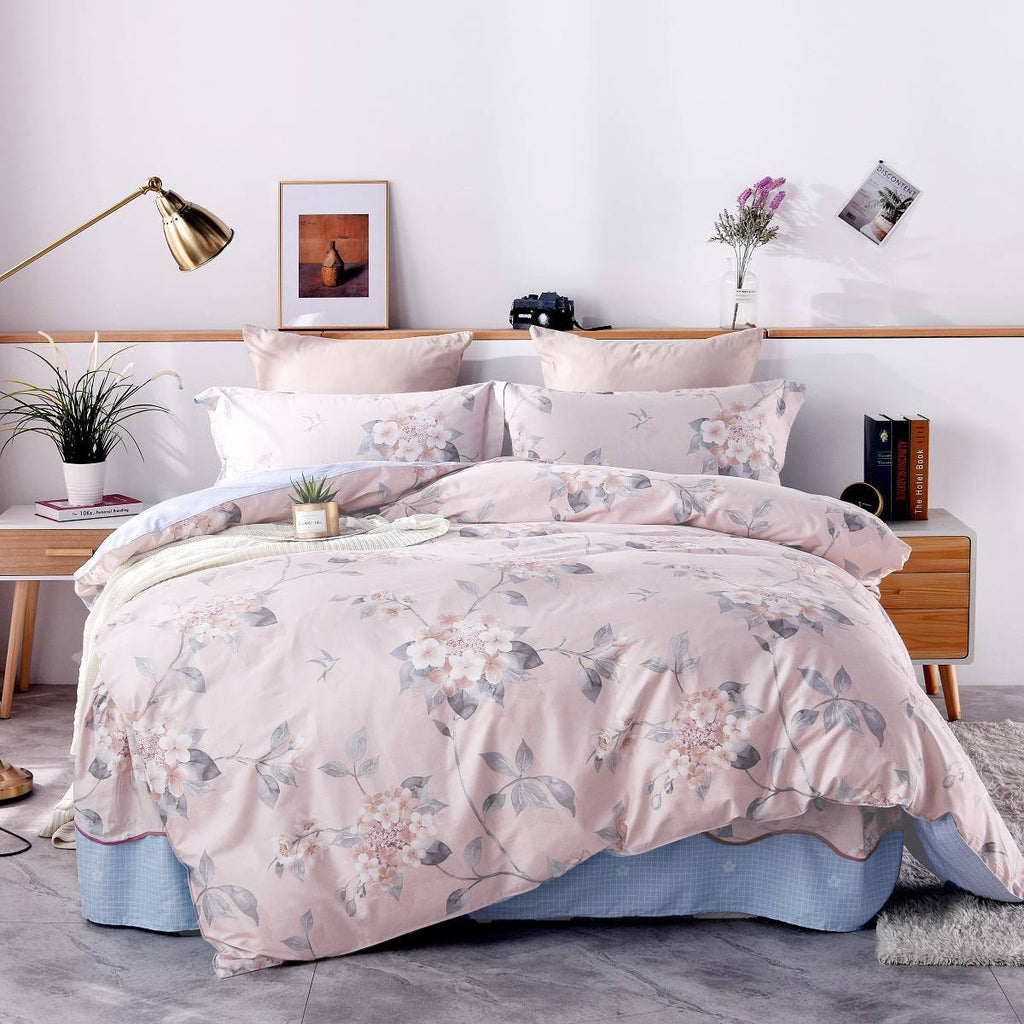 Lita floral Cotton Bedskirt Duvet Cover Set