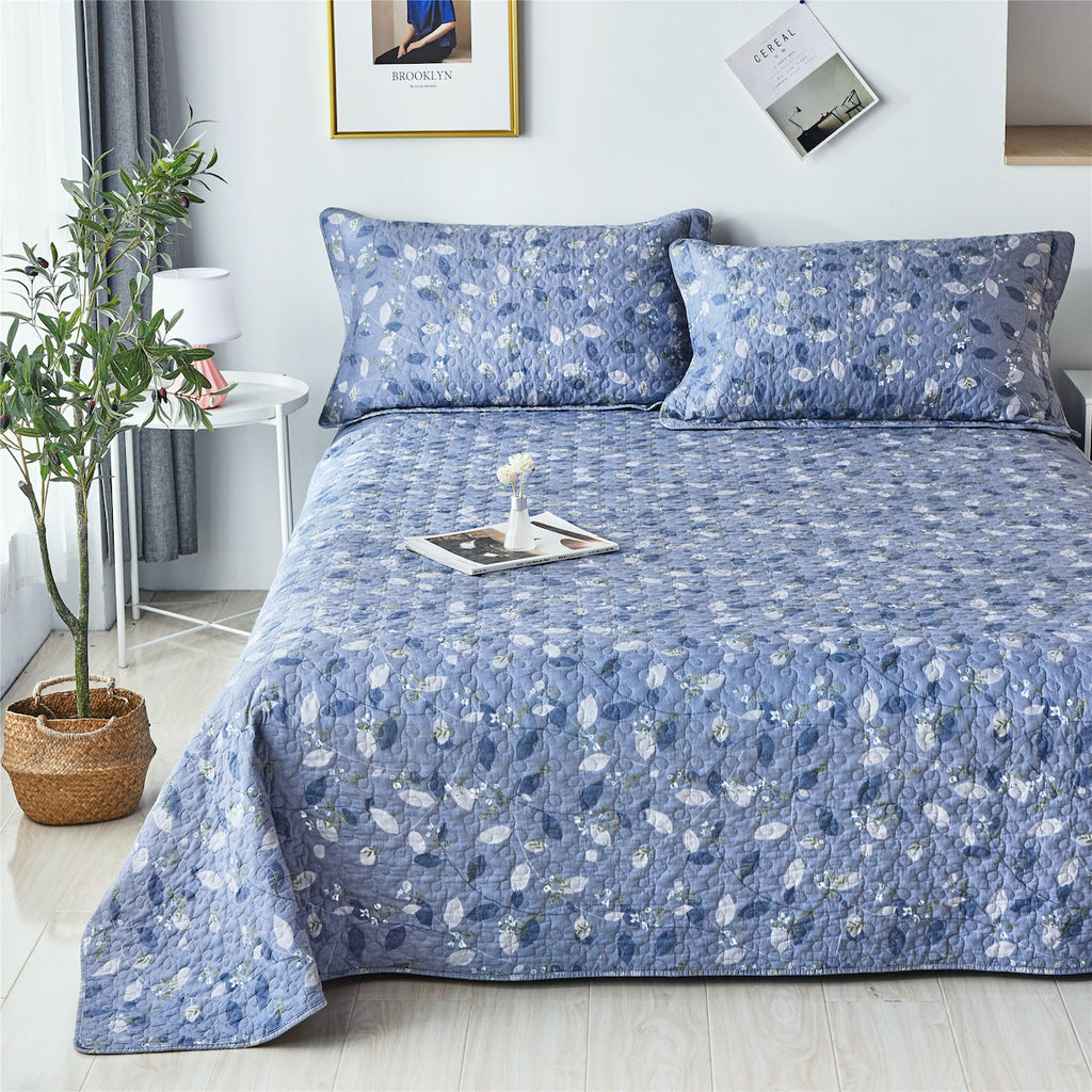 Lush Vine Floral Cotton Quilt Set