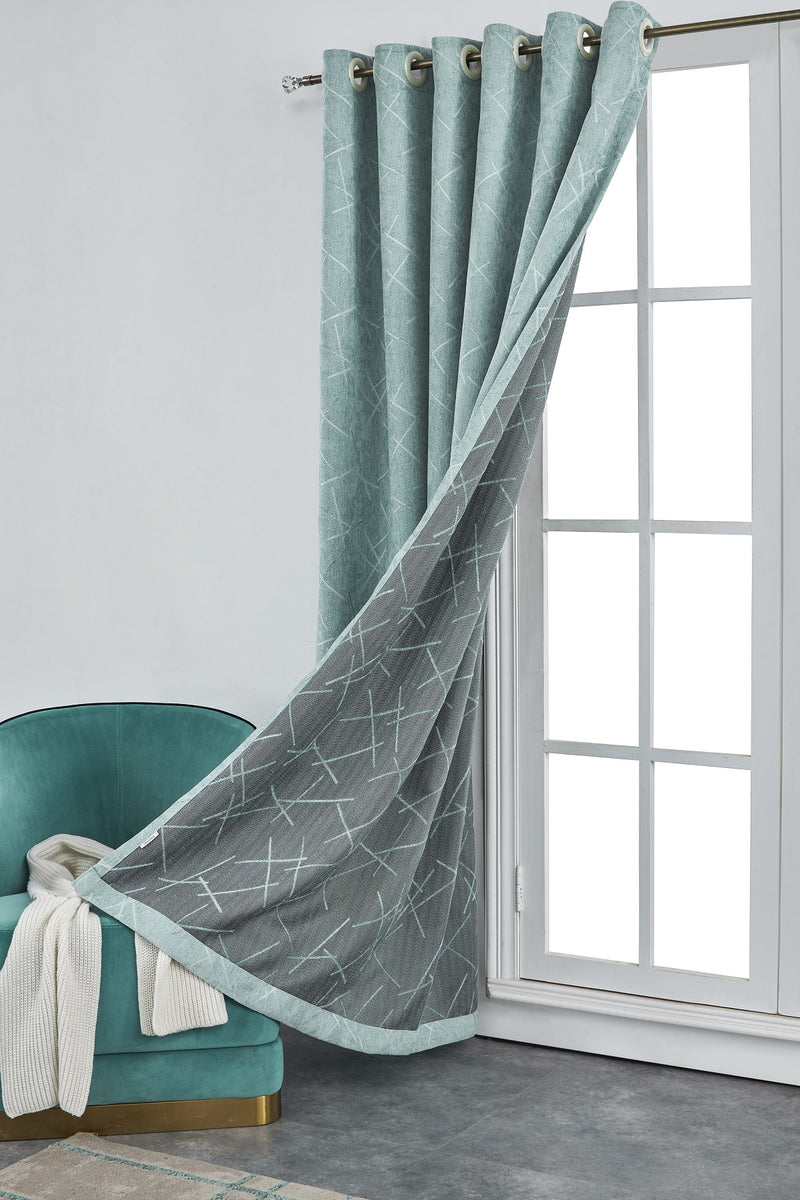 Marble Forest Geometric Polyester Curtain