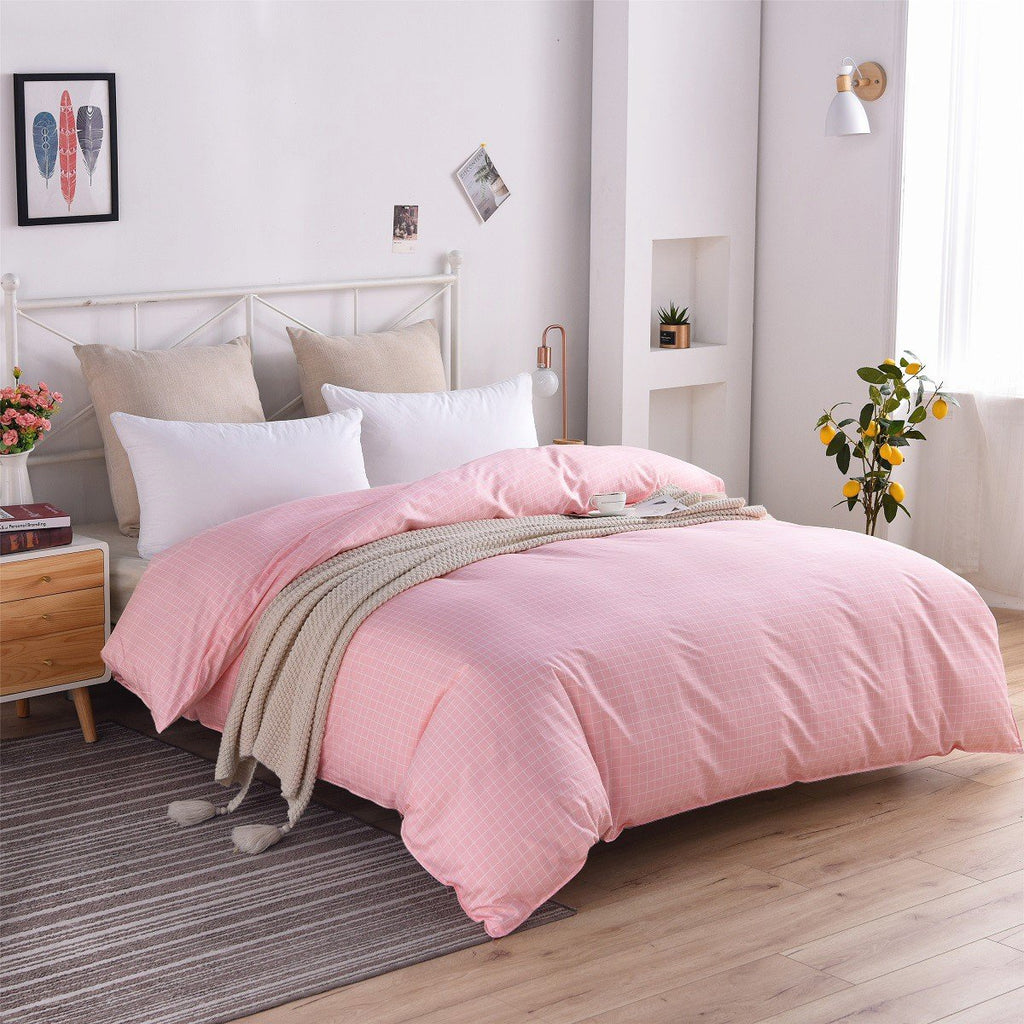 Pink Plaid Cotton Duvet Cover