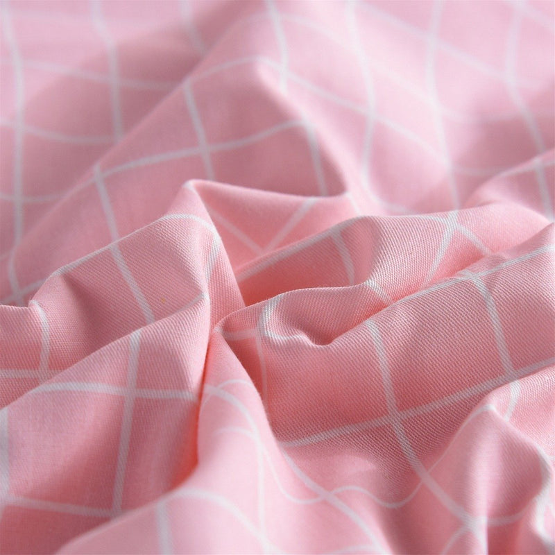 Pink Plaid Cotton Fitted Sheet