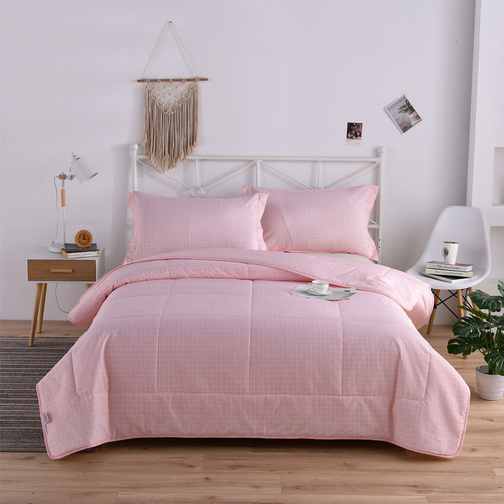 Pink Plaid Cotton Light Comforter