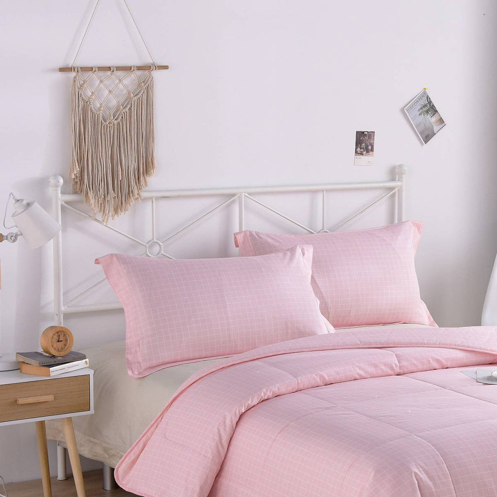 Pink Plaid Cotton Pillow Sham Set