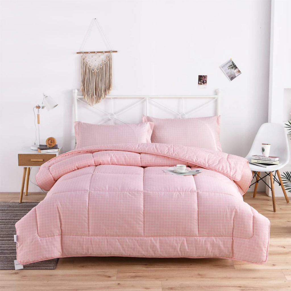 Pink Grid Cotton All Season Comforter