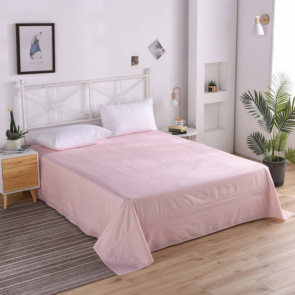 Pink Plaid Cotton Flat Sheet