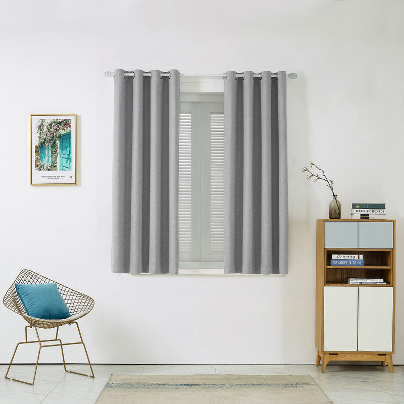 Solid Elegant Gray Polyester Curtain