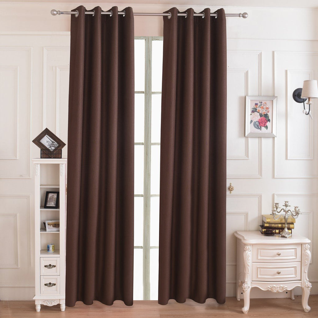 Solid Elegant Coffee Polyester Curtain