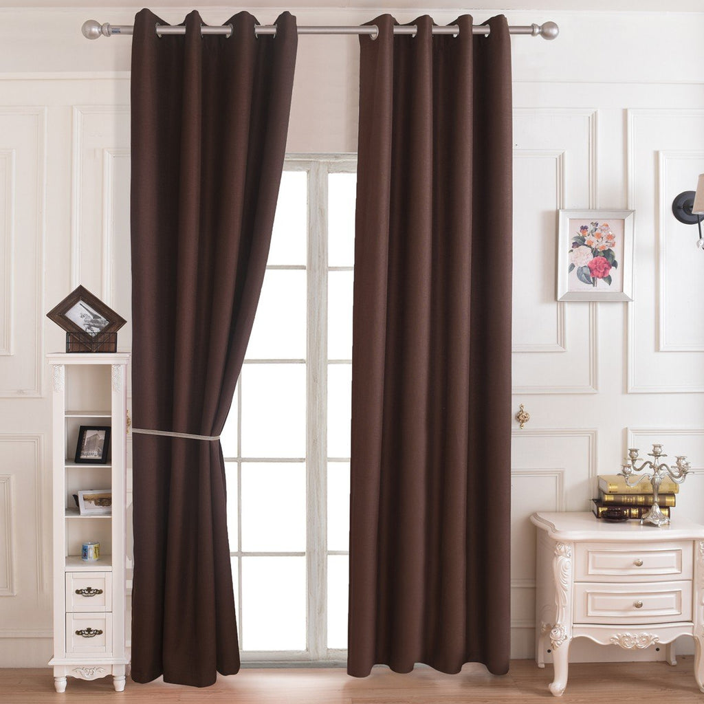 Solid Coffee Polyester Curtain