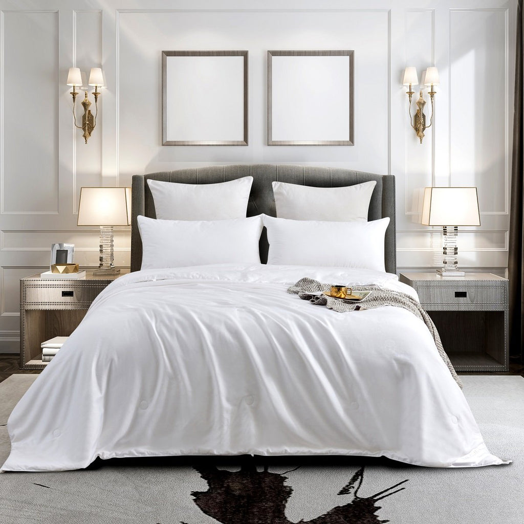 Solid White Luxe Mulberry Silk Duvet Insert