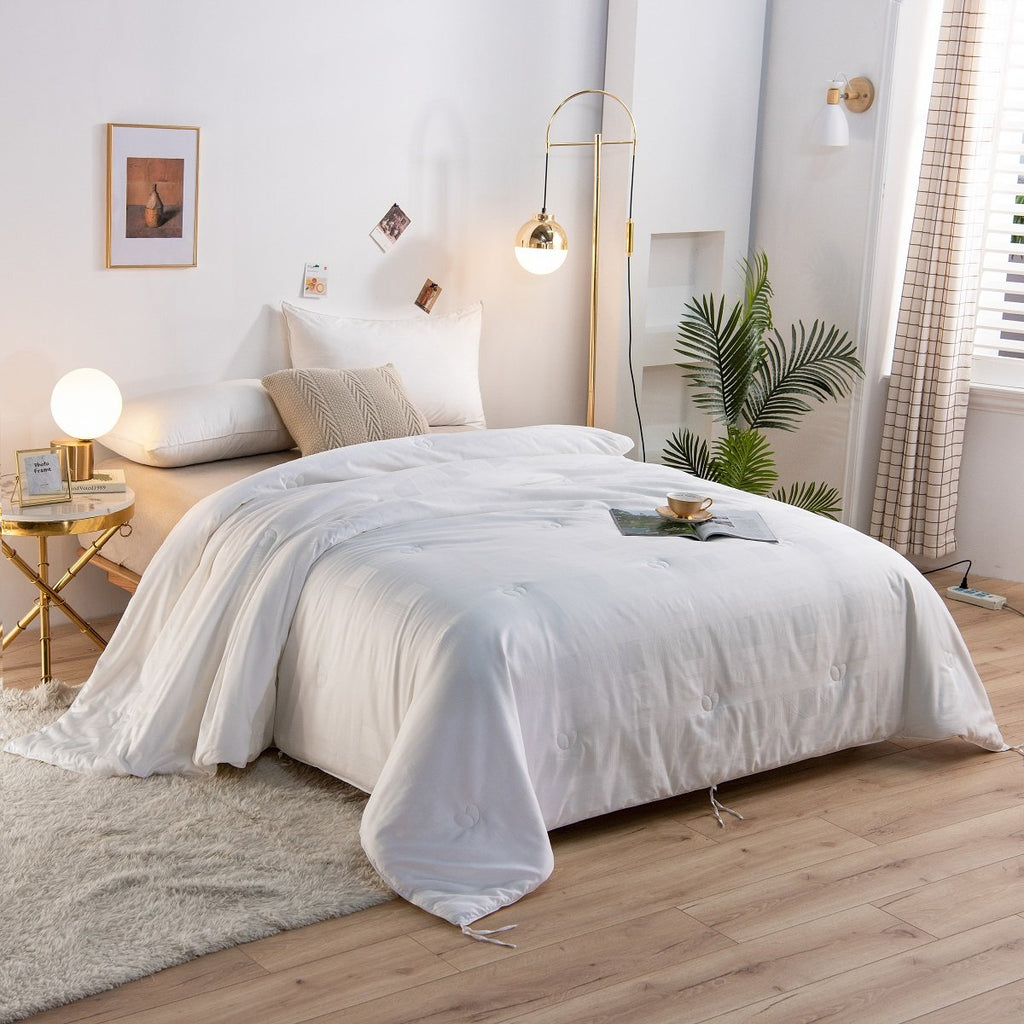 Solid White All Season Silk Duvet Insert