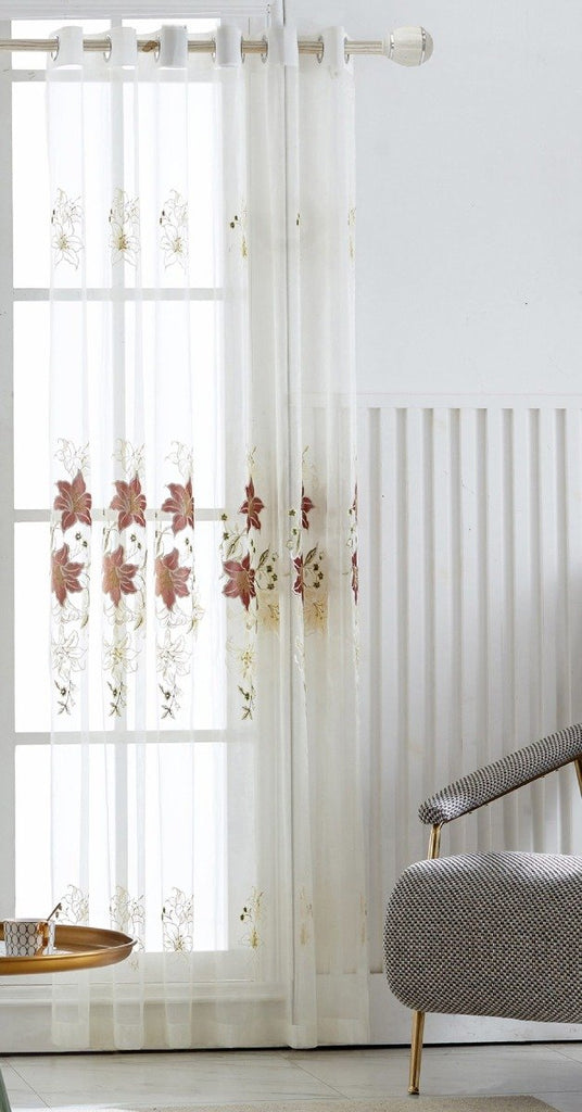 Sweet Lily Floral Polyester Sheer Curtain