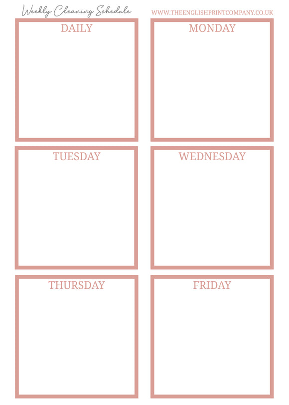 Blank Weekly Cleaning Schedule - Free Printable