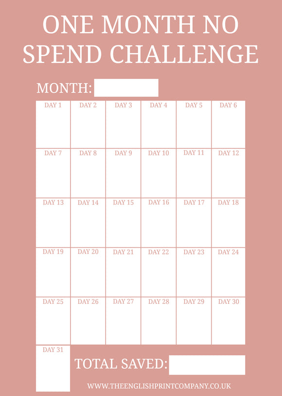 One Month No Spend Challenge - Free Printable