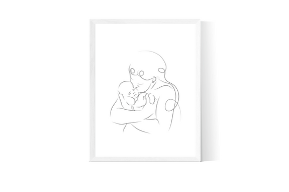 Parent & Baby Line Art