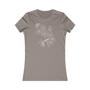 Women's Slim Fit Tee White Cherry Branch