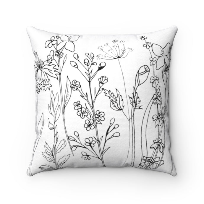 Spun Polyester Square Pillow Wildflowers