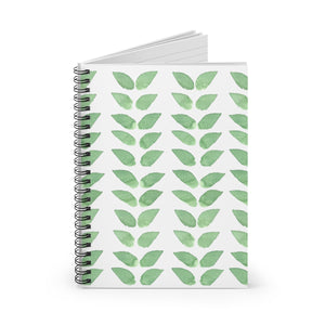 Spiral Notebook Ruled Line Green Leaves