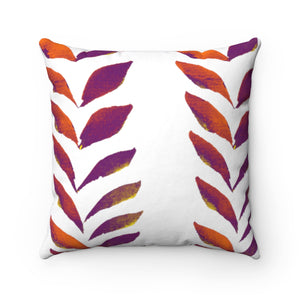 Spun Polyester Square Pillow Purple Leaves
