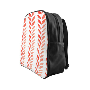 School Backpack Red Leaves