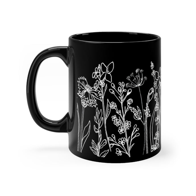 Black mug Wildflowers 11oz