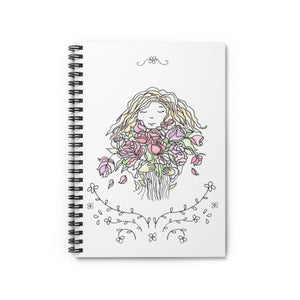 Spiral Notebook Ruled Line Girl with Flowers