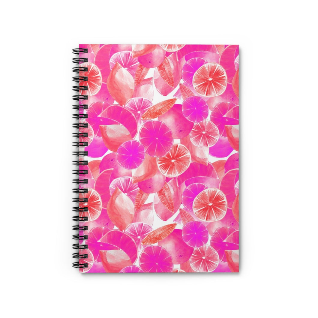 Spiral Notebook Ruled Line Pink Citrus