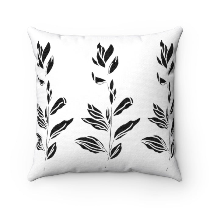 Spun Polyester Square Pillow Branch With Leaves