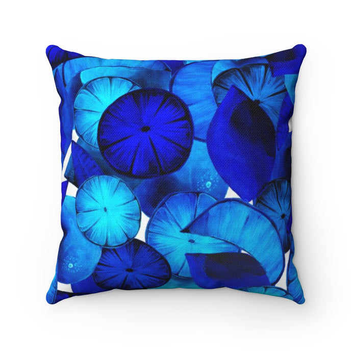 Spun Polyester Square Pillow Blue Citrus